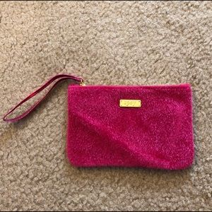 Pink fur cosmetic bag clutch